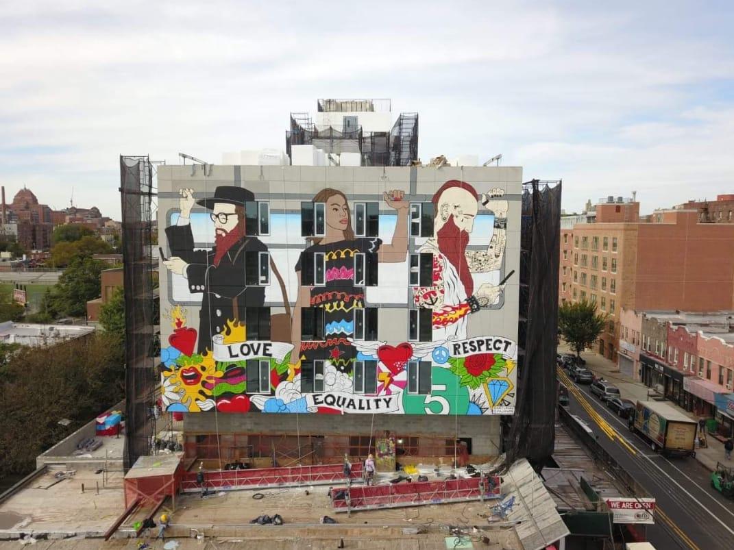 Dos argentinos realizaron el mural más grande de Brooklyn - Radio Cantilo
