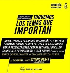 """Se viene el festival """"Toquemos los temas que importan"""" de Amnistía Internacional"""