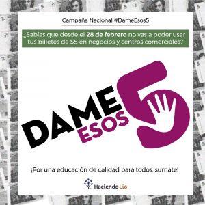 #DameEsos5: conocé los detalles de la campaña de la ONG Haciendo Lío