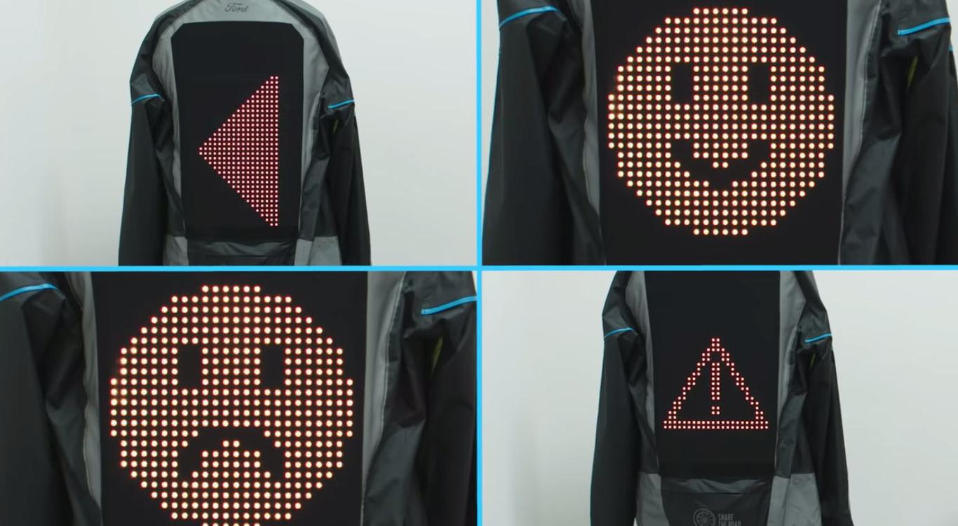 Ford creó una campera con emojis para mejorar la seguridad de los usuarios de moto y bicicleta - Radio Cantilo