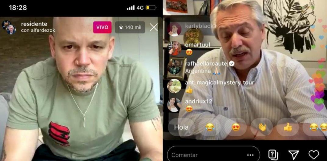Residente hizo un vivo de Instagram con Alberto Fernández - Radio Cantilo